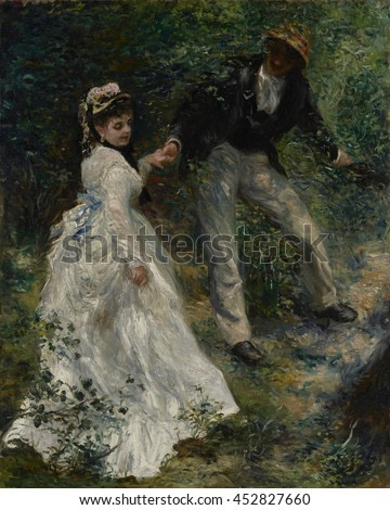 La Promenade, by Auguste Renoir, 1870, French impressionist painting, oil on canvas. Woman in a white dress stands out as her companion merges into the shadows, both enveloped by Renoir's masterful b