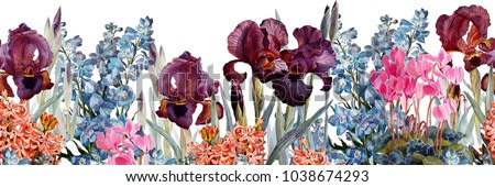 Floral horizontal seamless border.Irises, cyclamen, delphiniums, hyacinths on a white background.Watercolor painting. Botanical illustration.