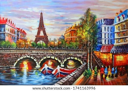 Illustration of beautiful Eiffel Tower city view textured pattern canvas artwork acrylic oil painting 3d wallpaper