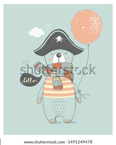 Cute Pirate Bear . Hand drawn vector illustration.can be used for kid's,baby's shirt design,fashion print design,fashion graphic,t-shirt,tee