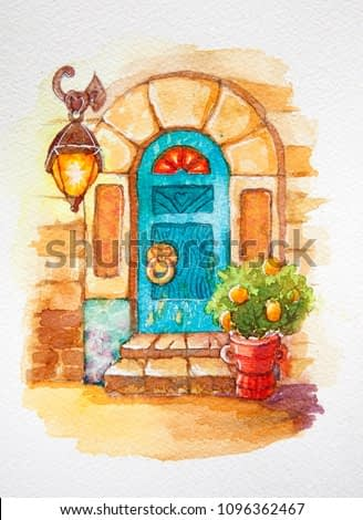 Beautiful old door with stained glass, lantern, trolley with flowers, in a stone wall. watercolor illustration. vintage style, Provence, rural landscape, old town, house, building, Italian street.