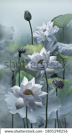 White lotus flower in lake with small dragonfly on lotus