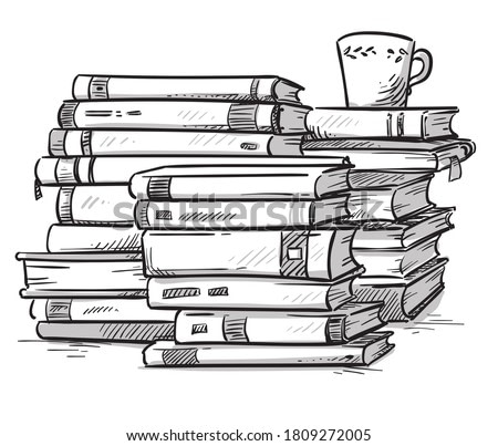 Heaps of books with a cup of coffee on the top, line  illustrati