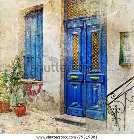 traditional Greek streets -artwork in painting style