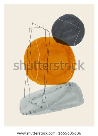 Creative minimalist hand painted illustration for wall decoration, postcard or brochure design. Vector EPS10.