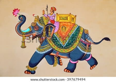 Traditional Indian or Rajasthani wall painting of elephant with jockey.