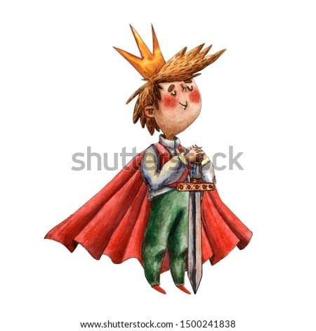 Watercolor cute boy illustration. Little king with red mantle. Funny fairy tale prince. Children playing. Fairy tale character. Caucasian boy. Cartoon style. Medieval character, sword and crown.