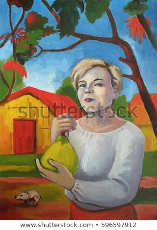 Woman holding fruit. A young girl is holding a fruit. Girl on the background of the hut. Imitation of Gauguin. Illustration, oil, cardboard.