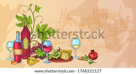 Italian wine sketch illustration with cheese, glasses, vines, grapes, bottles. Food and drink vector background with rural landscape, autumn still life. Alcoholic beverages hand drawn banner