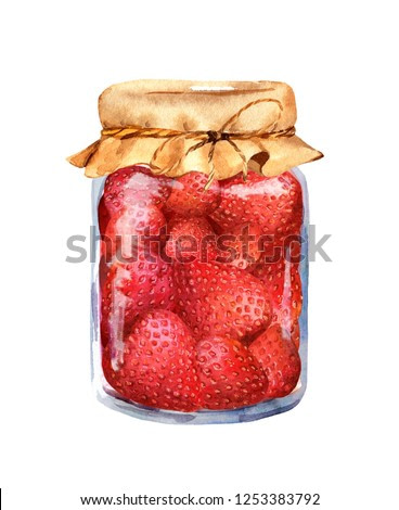Strawberry jam with berries in glass jar. Watercolor