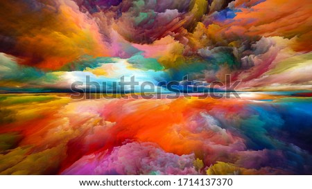 Rainbow Enlightenment. Escape to Reality series. Abstract arrangement of surreal sunset sunrise colors and textures on the subject of landscape painting, imagination, creativity and art