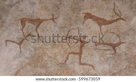 Drawing in a cave painted by an ancient man on a wall, a rock. Paints red ocher. Hunting for an animal., Neanderthal, cave man. The Stone Age, the Ice Age. Science, anthropology.
