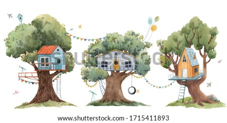 Beautiful set with three cute watercolor children tree houses. Stock illustration.