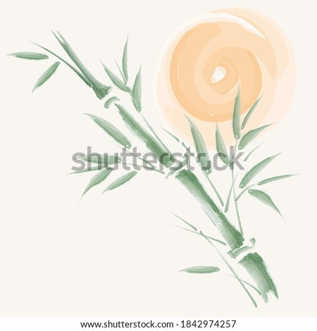 Bamboo chinese painting style vector