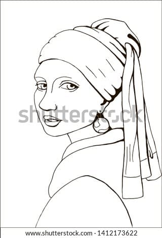 Coloring page with of the Girl with a pearl earring based on Johannes Vermeer's painting. It was drawn by hand and not an exact copy.
