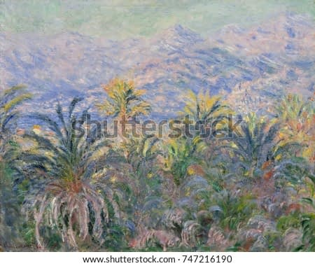 Palm Trees at Bordighera, by Claude Monet, 1884, French impressionist painting, oil on canvas. Monet painted this in the Italian Riviera, looking west across the Bay of Ventimiglia and toward the Mari