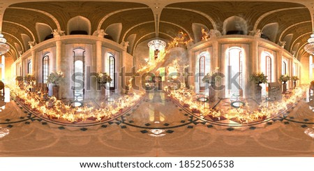 Interior pano vr 360 panorama of a cathedral, duomo, church on fire, 3d rendering, 3d illustration