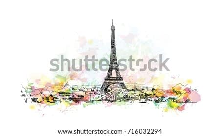 Watercolor sketch of Eiffel Tower, Paris Capital of France in vector illustration.
