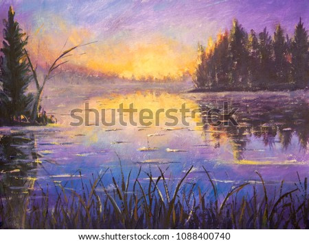 Acrylic painting Blue violet purple Morning on the river. Sunrise on the water. Sunset over the river. Reflection in water. Rural landscape art illustration impressionism artwork. Oil painting