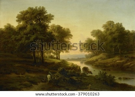 Landscape, by Alexandre Calame, 1830-45, Dutch painting, oil on canvas. Sunset reflected in a river with shepherd on horseback with sheep and a cow.