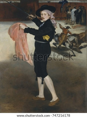 Mademoiselle V in Costume of an Espada, by Edouard Manet, 1862, French impressionist oil painting. Manets favorite model, Victorine Meurent, is painted as a matador against a backdrop of a bullfight