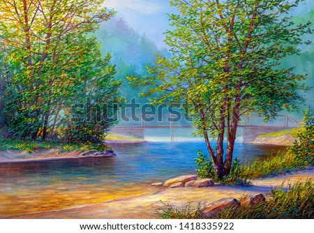 Oil painting landscape , colorful summer forest, beautiful river with a bridge