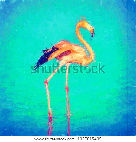 painting . Draw a flamingo animal in the lake