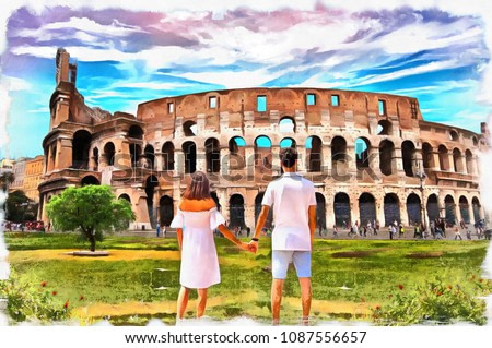 painting of Colosseum Rome Italy ( lovely couple standing looking into Coliseum) oil painting on canvas , watercolor, wallpaper background, sunset , hand draw, art, poster, illustration