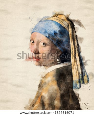 Girl with a Pearl Earring. Redrawing with a watercolor.
