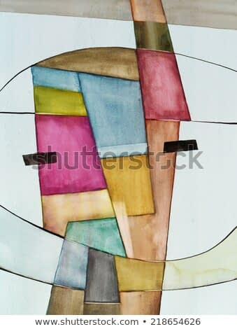 An abstract watercolor painting with irregular blocks of color fractured by horizontal lines