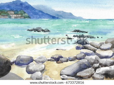 Abstract seascape of a turquoise cove with boulders of stones at low tide watercolor background