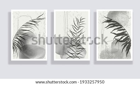 Trendy set of watercolor minimalist abstract illustrations. Minimal botanical wall art. Mid century modern graphic. Plant art design for social media, blog post, print, cover, wallpaper. Vector
