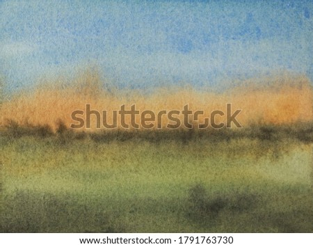 An abstract landscape watercolor painting by Robbin Siembieda.  Colors are blue, orange and green.