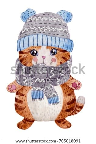 Watercolor cute cat with warm hat and scarf