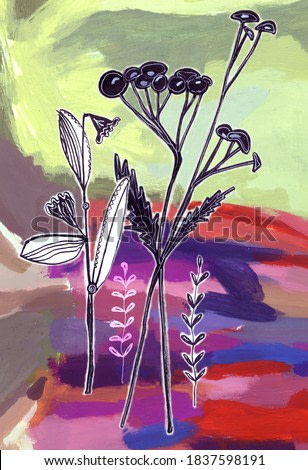 The image of silhouettes of plants on an abstract background, painted with paints for your design, greeting cards,advertisement, posters, fabrics, t-shirts,decorative pillows.