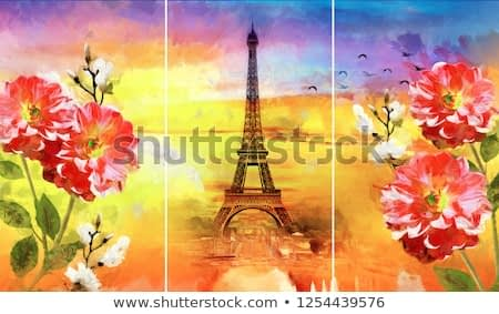 Collection of designer oil paintings. Decoration for the interior. Modern abstract art on canvas. Set of pictures with different textures and colors. Eiffel tower, red flowers on colorful background
