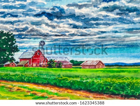 Country landscape with farmer barn. Watercolor painting.