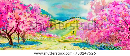Painting watercolor landscape pink colors of Wild himalayan cherry bright flowers and home, mountain hill in the spring season. Hand painted, blue sky, cloud background, beauty nature, winter season.