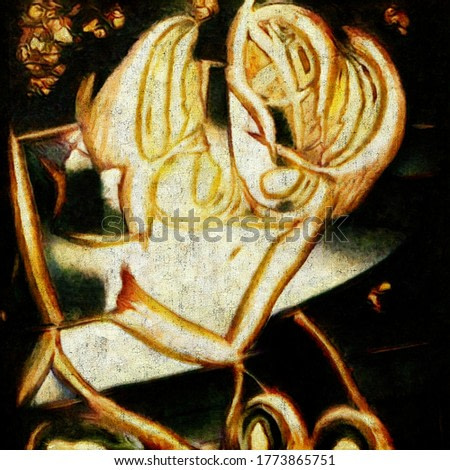 Modern abstraction in the style of cubism based on Picasso. The painting is made in oil on canvas with elements of aged coating.