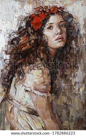 Portrait of a young, dreamy girl with curly brown hair on a mysterious abstract background. She looks very mystical and thoughtful. Palette knife technique of oil painting
