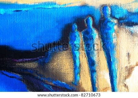 Abstract modern painting of three human figures standing in an abstract landscape