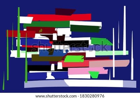 Urban architecture abstraction, cubism, contemporary art. Avant-garde, Geometric, modern trendy vector illustrations
