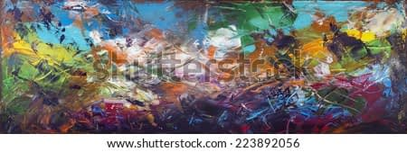 Seabed abstract panorama with the sunk ships  horizontal panel. Handmade painted acrylic art on canvas