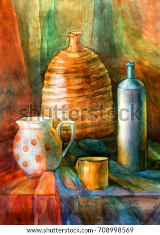 Different dishes for drinking painting