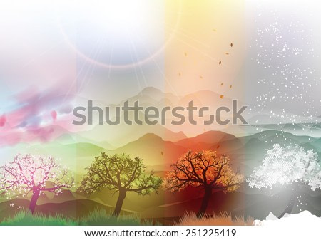 Four Seasons Banners Spring, Summer, Fall, Winter with Abstract Trees - Vector Illustration