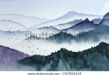 Landscape with mountains, birds and fog in monochrom painted in watercolor in vector