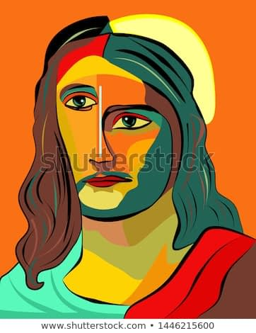 Colorful abstract background, cubism art style, jesus good shepherd