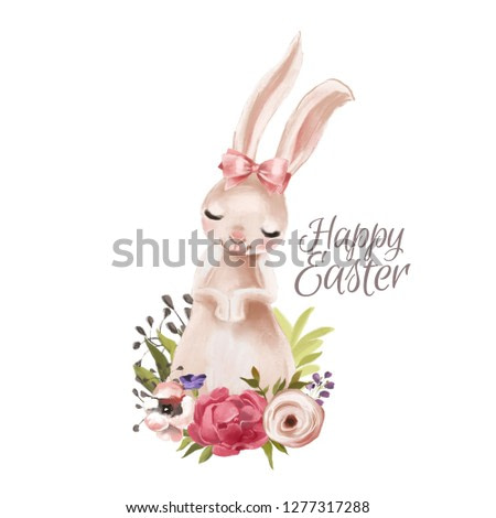 Cute hand drawn bunny with floral wreath, bouquet, flowers and tied bow