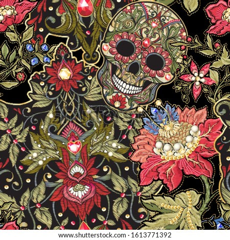 Seamless pattern, background with patch, embroidery imitation. Decorative floral motif with human skull in retro, vintage, jacobean embroidery style. Vector illustration isolated on black.