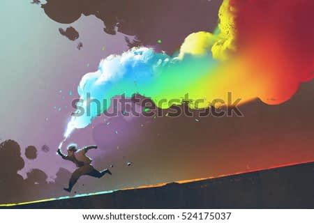 boy running and holding up colorful smoke flare on dark background,illustration painting